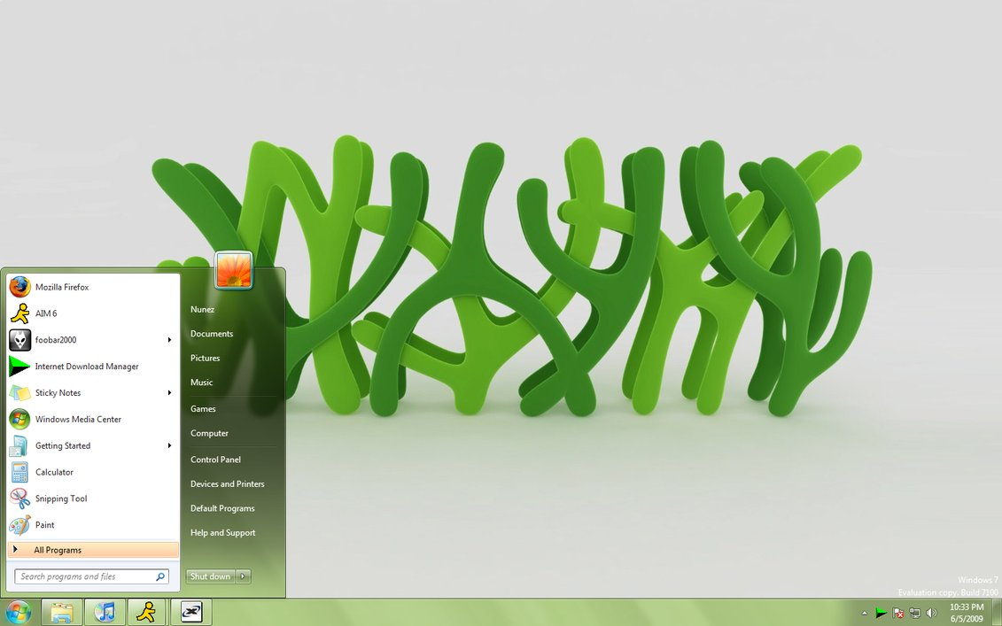 Clean Green Windows 7 visual style @ 50+ Stunning Windows 7 Desktop Themes