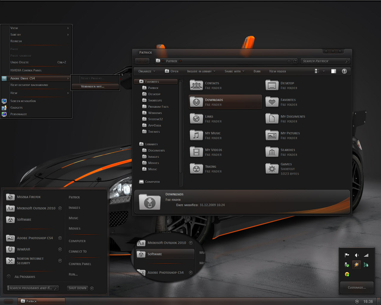 DARK AGILITY VISUAL STYLE FOR WINDOWS 71 @ 50+ Stunning Windows 7 Desktop Themes