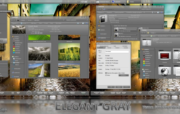 Elegant GRAY Visual Style for Windows 7