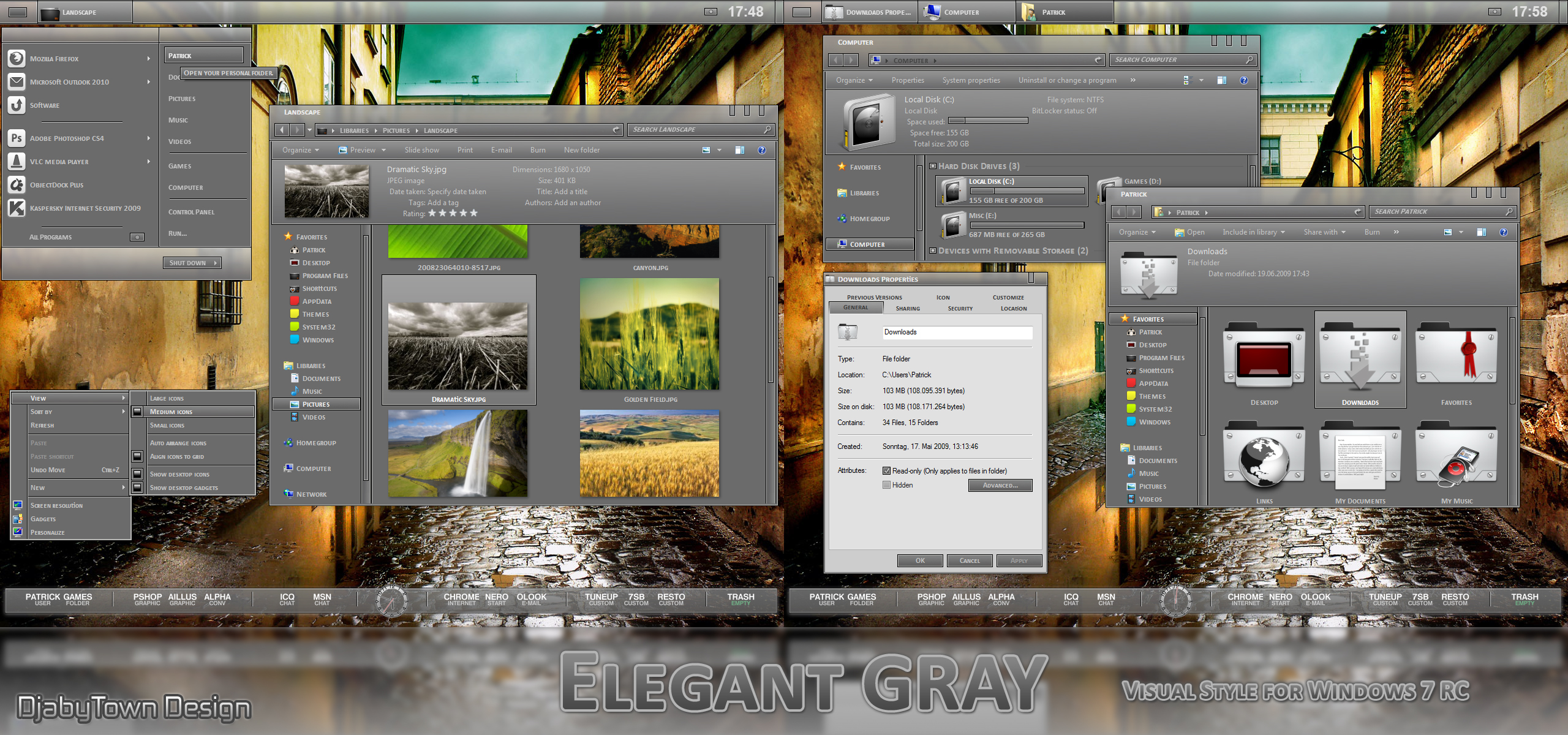 Elegant GRAY Visual Style for Windows 7 @ 50+ Stunning Windows 7 Desktop Themes
