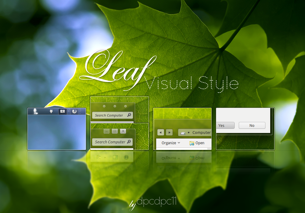 Leaf Visual Style for Windows 7 @ 50+ Stunning Windows 7 Desktop Themes