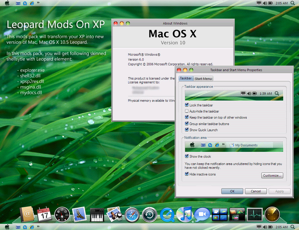 Leopard Mods Mac OSX for Windows XP @ 10+ Windows Transformation Packs To Enhance Desktop Experience