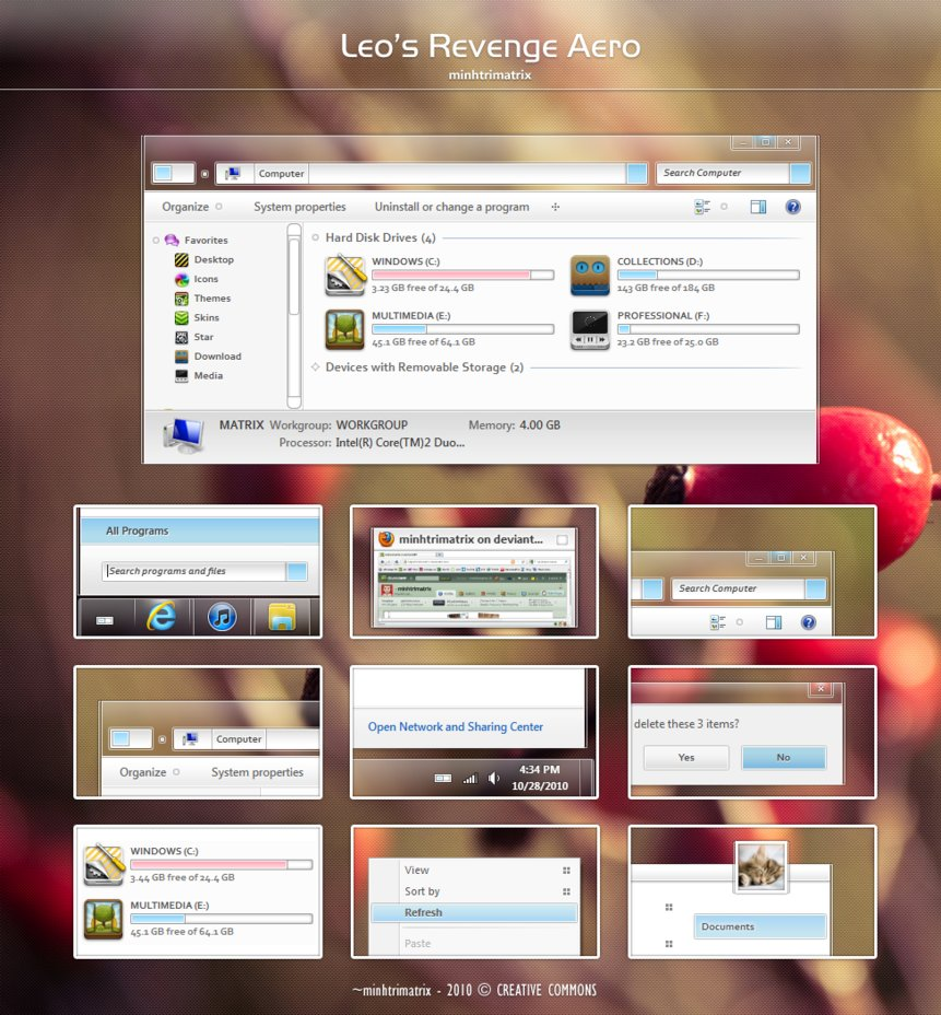 Leos Revenge Aero Visual Style for Windows 7 @ 50+ Stunning Windows 7 Desktop Themes