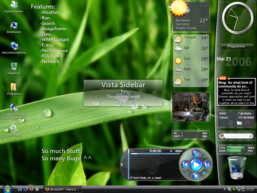 MW Windows Vista Sidebar Gadget for XP @ Enable Vista style Sidebar in Windows XP
