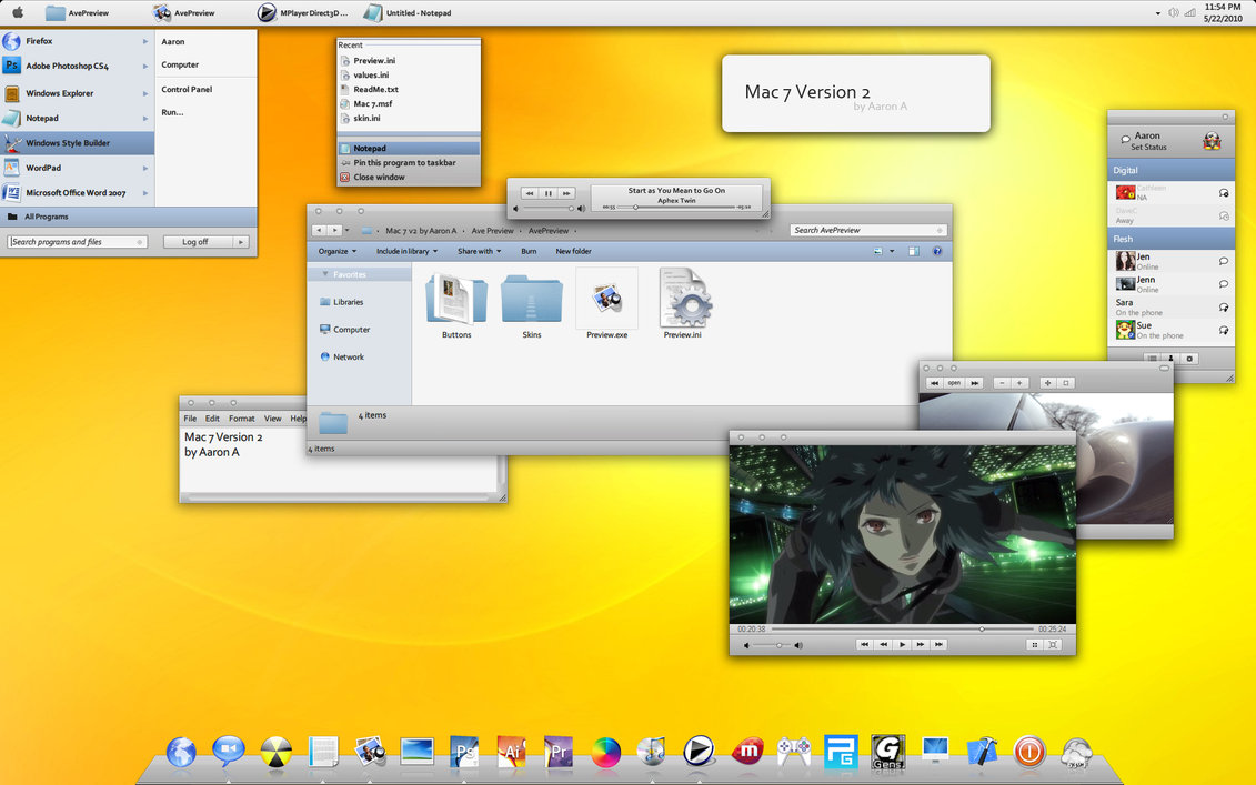 Mac 7 Version 2 Visual Style for Windows 7 @ 50+ Stunning Windows 7 Desktop Themes