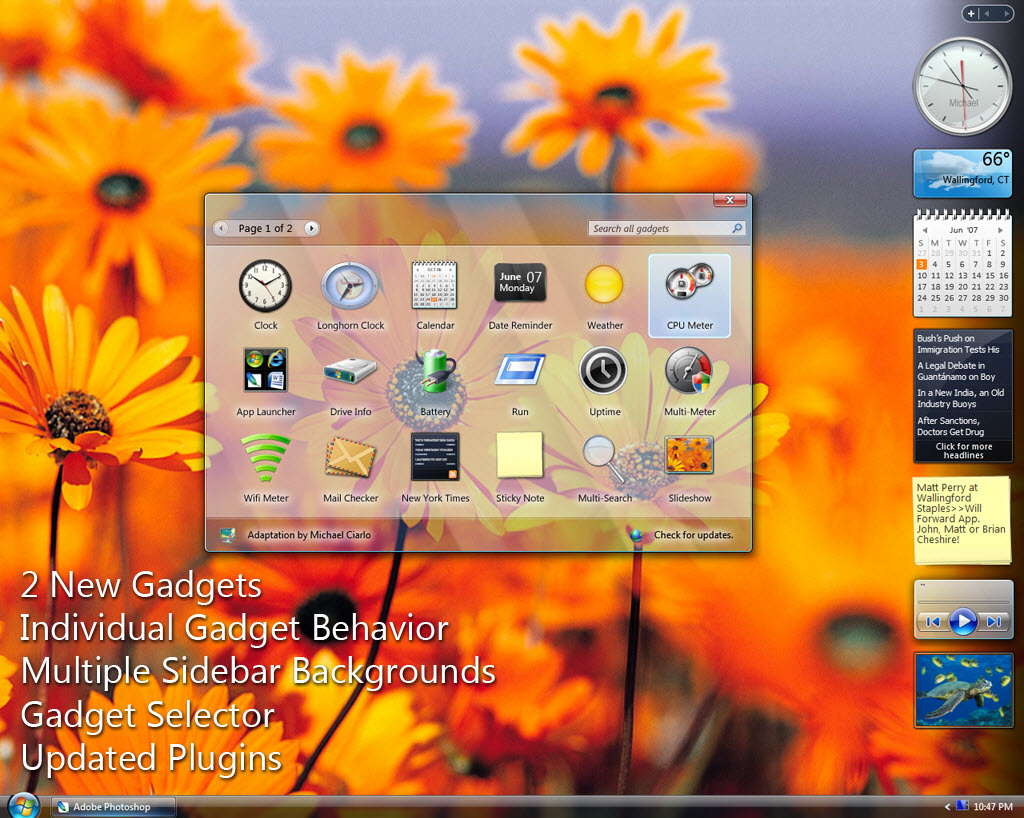 Samurize WIndows Vista Theme for XP @ Enable Vista style Sidebar in Windows XP