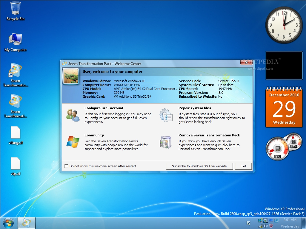 Seven Transformation Pack 5.1 for Windows XP @ 10+ Windows Transformation Packs To Enhance Desktop Experience