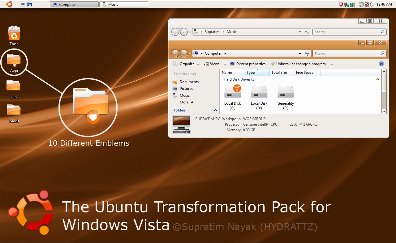 Ubuntu Transformation Pack for Windows XP1 @ 10+ Windows Transformation Packs To Enhance Desktop Experience