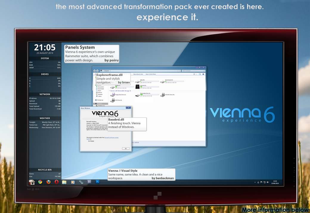 Vienna 6 transformation pack for Windows 7 @ 10+ Windows Transformation Packs To Enhance Desktop Experience