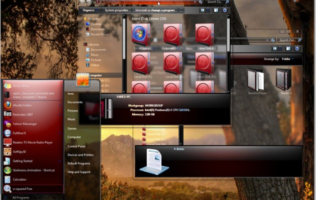 Windows 7 glass red visual style