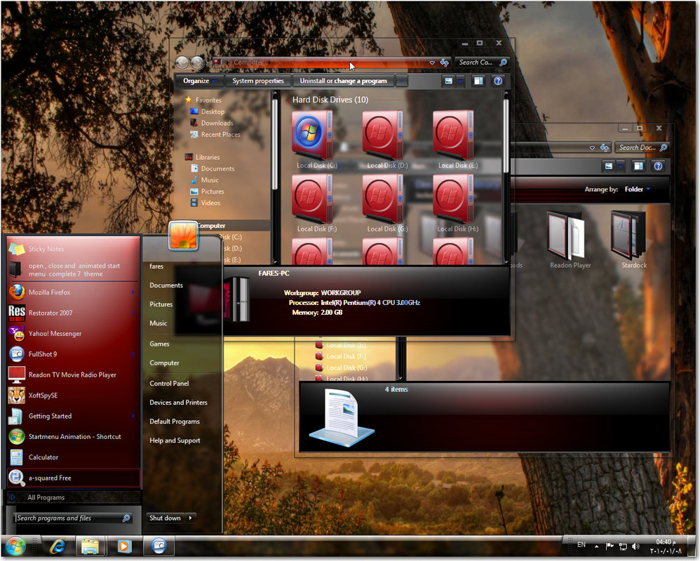 Windows 7 glass red visual style @ 50+ Stunning Windows 7 Desktop Themes