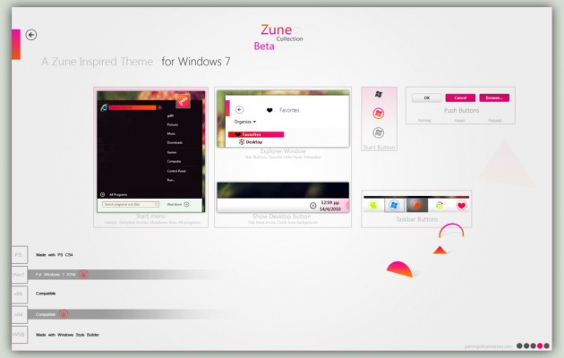 Zune White Visual Style for Windows 7