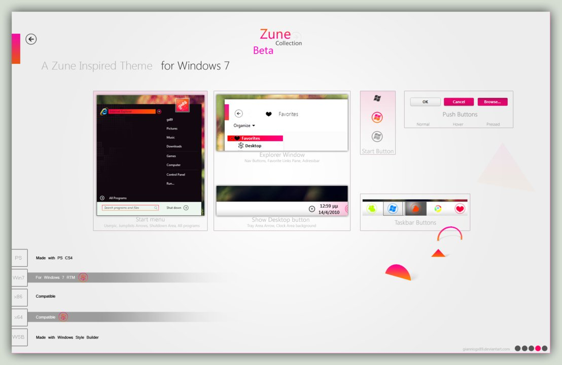 Zune White Visual Style for Windows 7 @ 50+ Stunning Windows 7 Desktop Themes