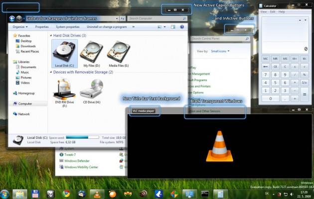 Windows7 Black Transparent theme for windows xp