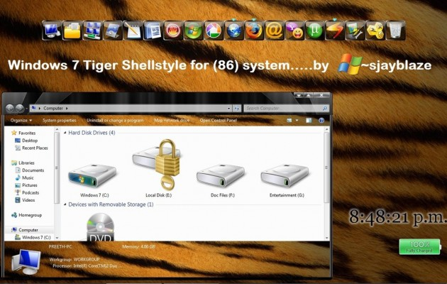 Tiger Shell Style for Windows 7