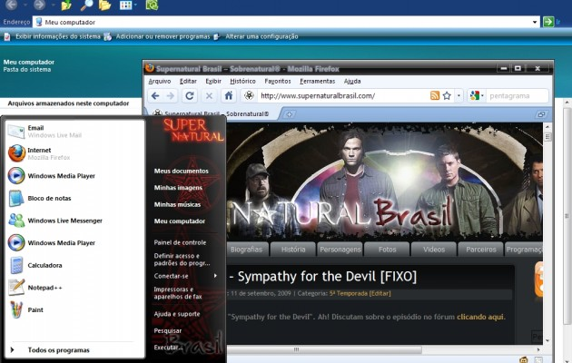 Supernatural Brasil XP Theme